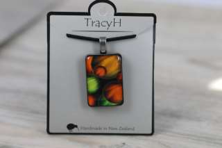 TracyH Pendant Rectangle  Bubbles Orange