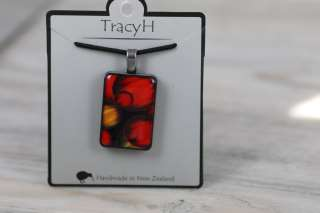 TracyH Pendant Rectangle  Bubbles Red