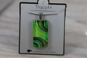 TracyH Pendant Clear Rectangle Ribbon Green