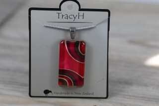 TracyH Pendant Clear Rectangle Ribbon Pink