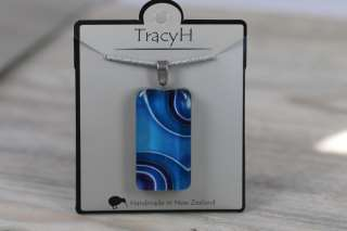 TracyH Pendant Clear Rectangle Ribbon Blue