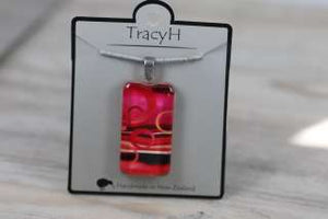 TracyH Pendant Rectangle Circles Pink
