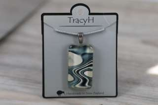 TracyH Pendant Clear Rectangle Reflection  Black White