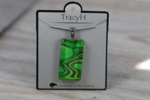 TracyH Pendant Clear Rectangle Reflection  Green