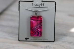 TracyH Pendant Clear Rectangle Reflection  Pink