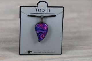 TracyH Pendant Small Leaf Bow Purple