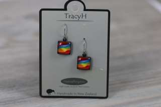 TracyH Earring  Squares Candy Stripes Red