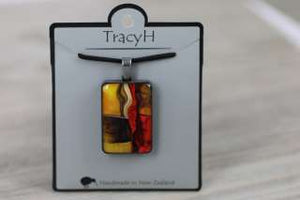 TracyH Pendant Rect Large Foil Orange