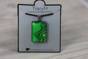 TracyH Pendant Rect Large Reflection Green