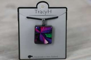 TracyH  Pendant  Square Patchwork Purple