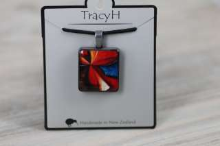 TracyH  Pendant  Square Patchwork Red