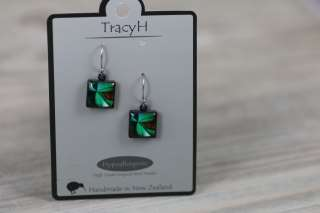 TracyH Earring Square Patchwork Turq