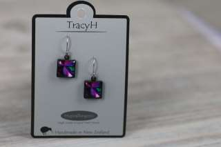 TracyH Earring Square Patchwork Purple