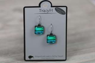 TracyH Earring Square Pastel Stripes Turq