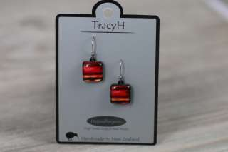 TracyH Earring Square Pastel Stripes Red