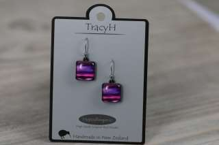 TracyH Earring Square Pastel Stripes Purple