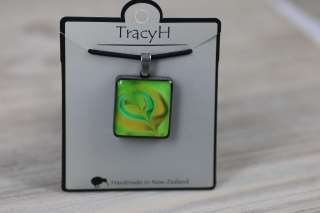 TracyH  Pendant  Square Heart Green