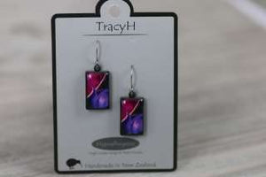 TracyH Earring Rect Short Tulip Purple