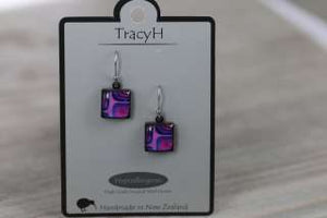 TracyH Earring Square Blocks Purple