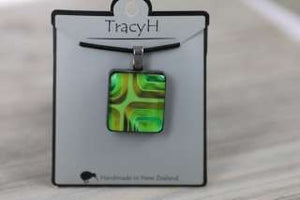 TracyH  Pendant Square Blocks Green