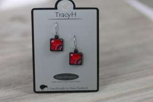 TracyH Earring Square Kiwi Flex Red