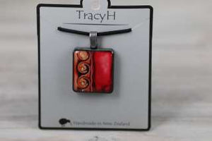 TracyH Pendant Square 3 Waves Red