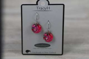 TracyH Earring Round Dots Pink