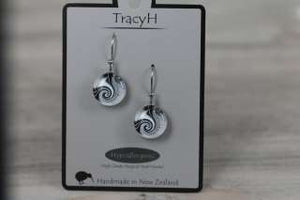 TracyH Earring Round Dots Black White