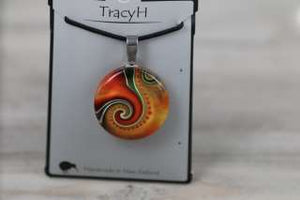 TracyH Pendant Round Koru/Dots Orange