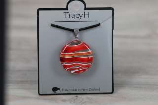 TracyH Pendant Round Stripes Red
