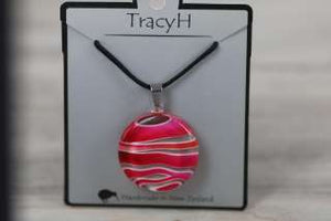 TracyH Pendant Round Stripes Pink