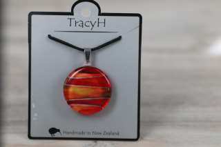 TracyH Pendant Round Foil Stripes Red