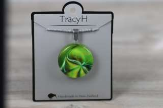 TracyH Pendant Clear  Round Fantasy Green