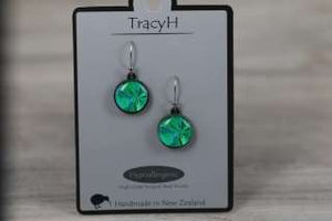 TracyH Earring Round Bow Turq