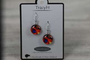 TracyH Earring Round Orchid Red