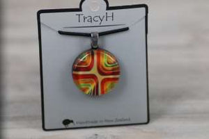 TracyH Pendant Round Blocks Orange