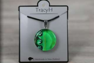 TracyH Pendant Round Circle 3 Waves Turq