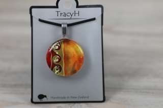 TracyH Pendant Round Circle 3 Waves Orange