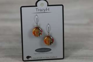 TracyH Earring  Clear Round 3 Waves Orange