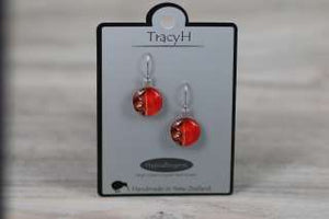 TracyH Earring  Clear Round 3 Waves Red