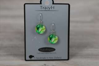 TracyH Earring  Clear Round Feathers Green
