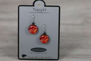 TracyH Earring Round Petals Red