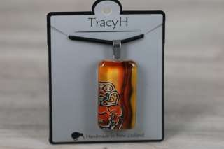 TracyH Pendant Clear Rect Tiki Orange