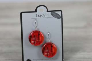 TracyH Earring Large Round Foil  Red