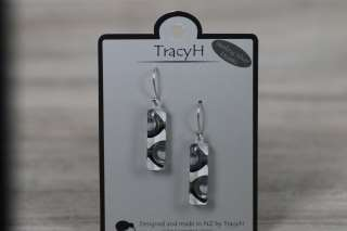 TracyH Earring Med Rect 2 Circles Black White