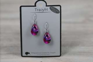 TracyH Earring Teardrop Mystic Wave Purple