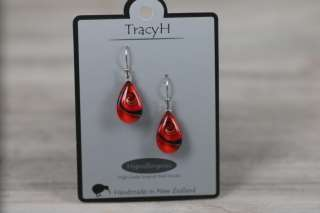 TracyH Earring Teardrop Mystic Wave Red