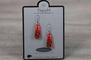 TracyH Earring Clear Trapeze Dots Red