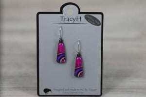 TracyH Earring  Trapeze Dots Purple