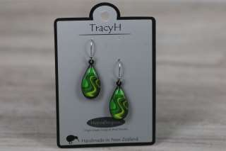 TracyH Earring  Teardrop Reflection Green